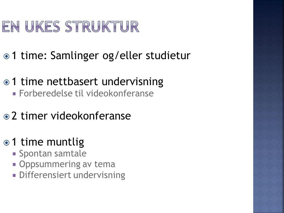 En ukes struktur 1 time: Samlinger og/eller studietur