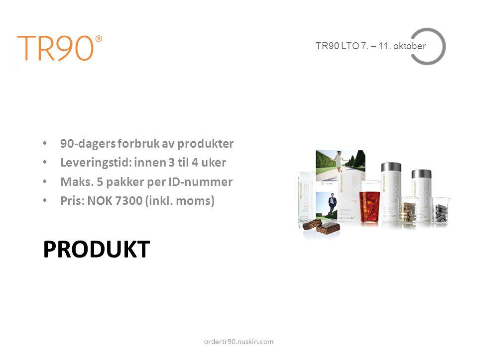 ProduKt 90-dagers forbruk av produkter