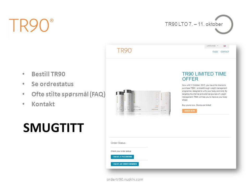 SMUGTITT Bestill TR90 Se ordrestatus Ofte stilte spørsmål (FAQ)