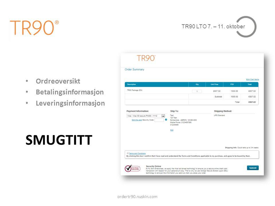 SMUGTITT Ordreoversikt Betalingsinformasjon Leveringsinformasjon