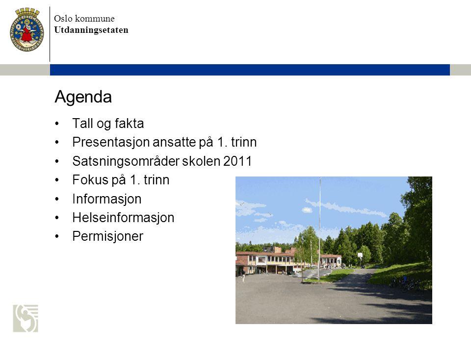 Agenda Tall og fakta Presentasjon ansatte på 1. trinn