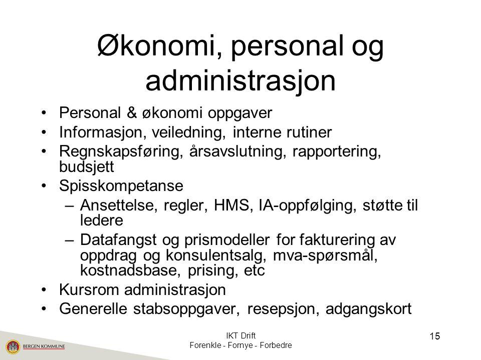 Økonomi, personal og administrasjon