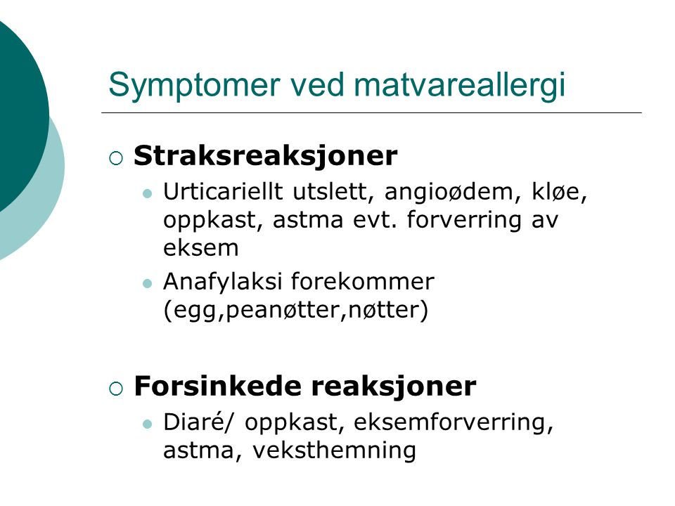 Symptomer ved matvareallergi