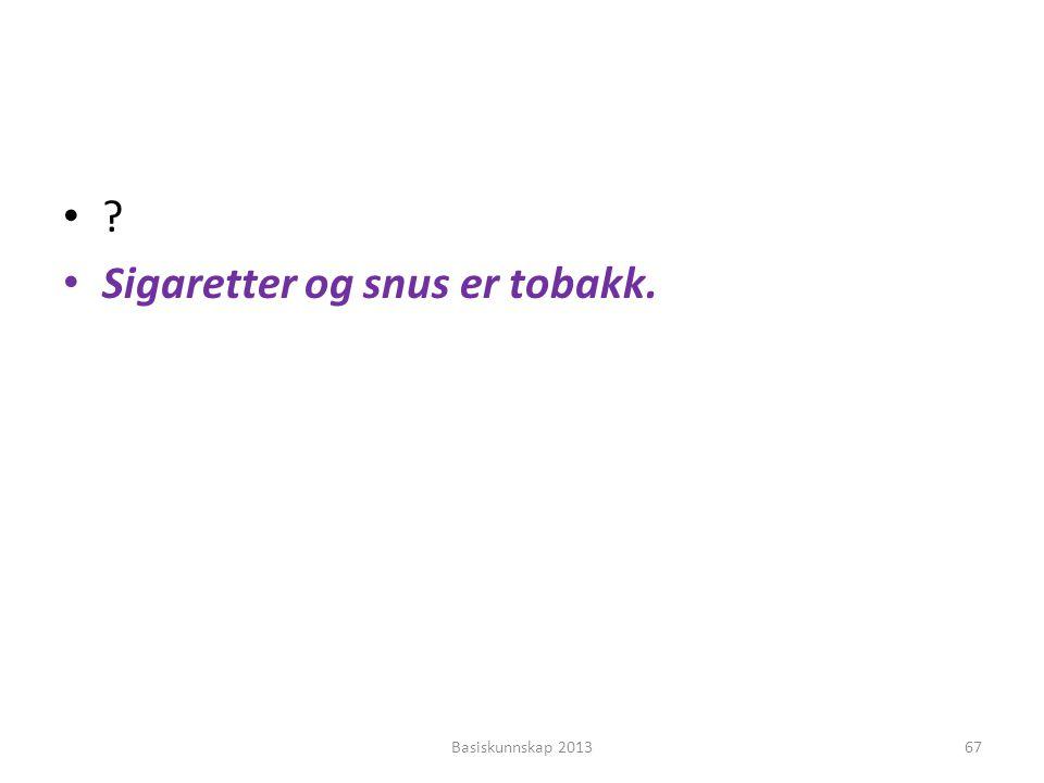 Sigaretter og snus er tobakk.