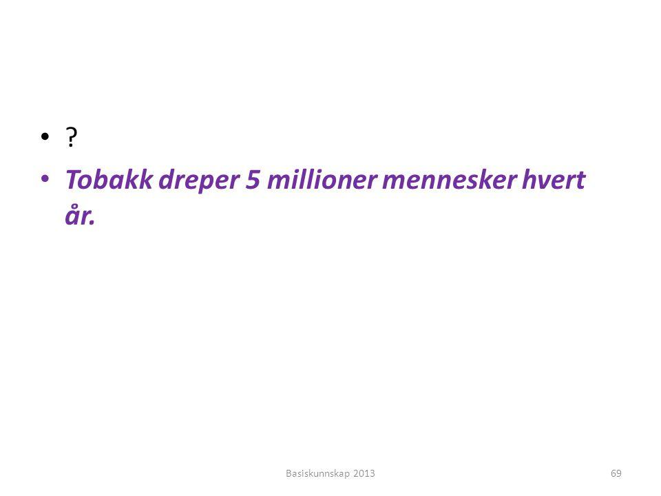 Tobakk dreper 5 millioner mennesker hvert år.
