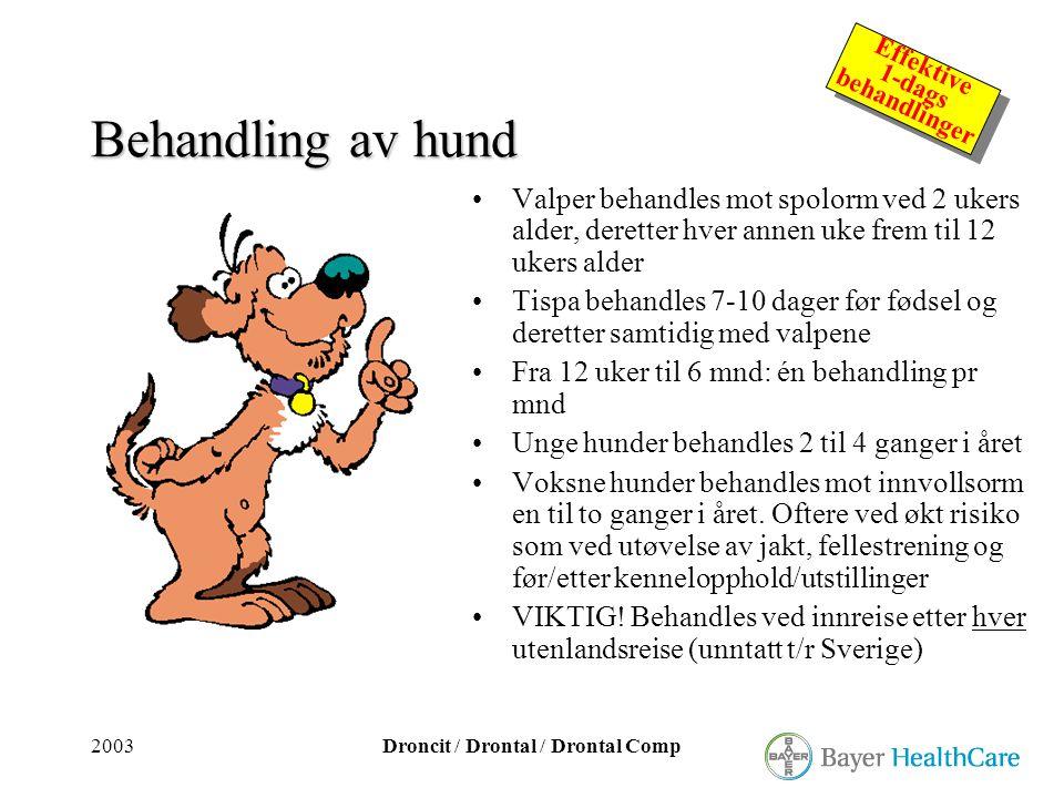Behandling av hund Valper behandles mot spolorm ved 2 ukers alder, deretter hver annen uke frem til 12 ukers alder.
