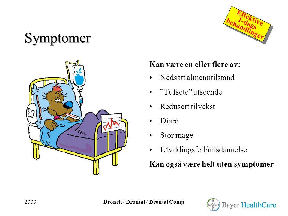 Symptomer Kan være en eller flere av: Nedsatt almenntilstand