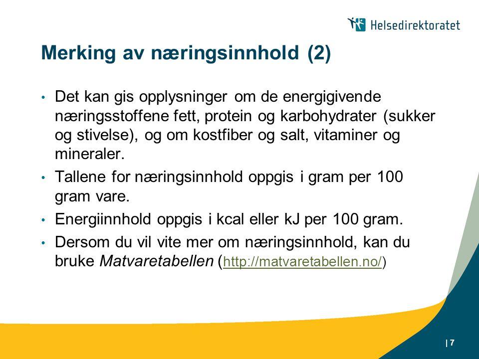 Merking av næringsinnhold (2)