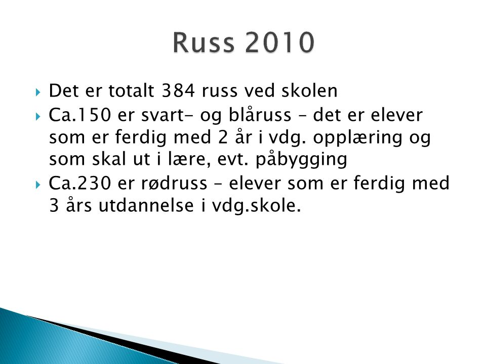 Russ 2010 Det er totalt 384 russ ved skolen
