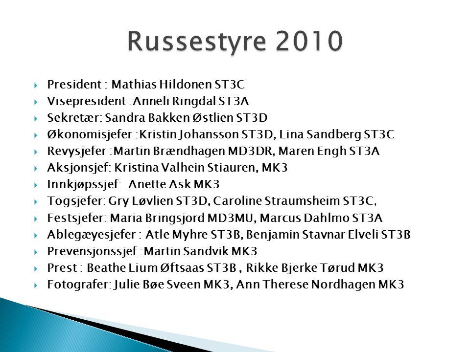 Russestyre 2010 President : Mathias Hildonen ST3C