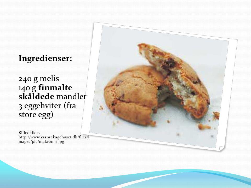 Ingredienser: 240 g melis 140 g finmalte skåldede mandler 3 eggehviter (fra store egg)