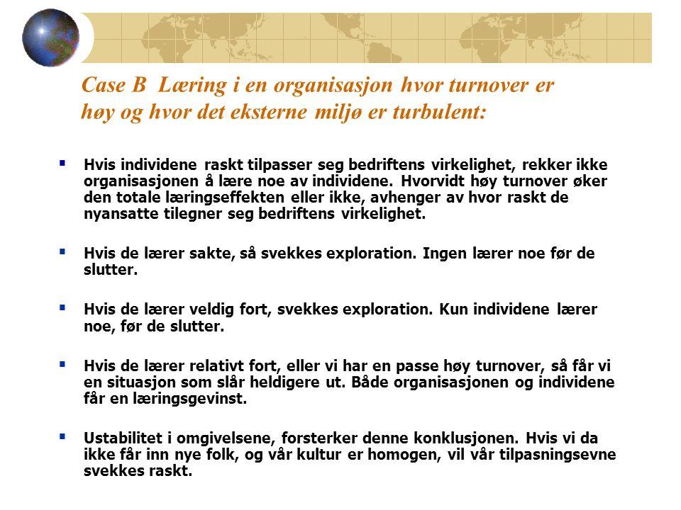 Case B Læring i en organisasjon hvor turnover er høy og hvor det eksterne miljø er turbulent: