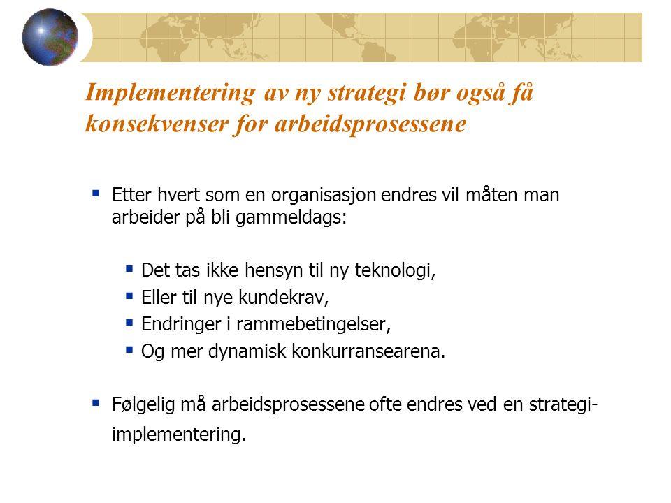 Implementering av ny strategi bør også få konsekvenser for arbeidsprosessene