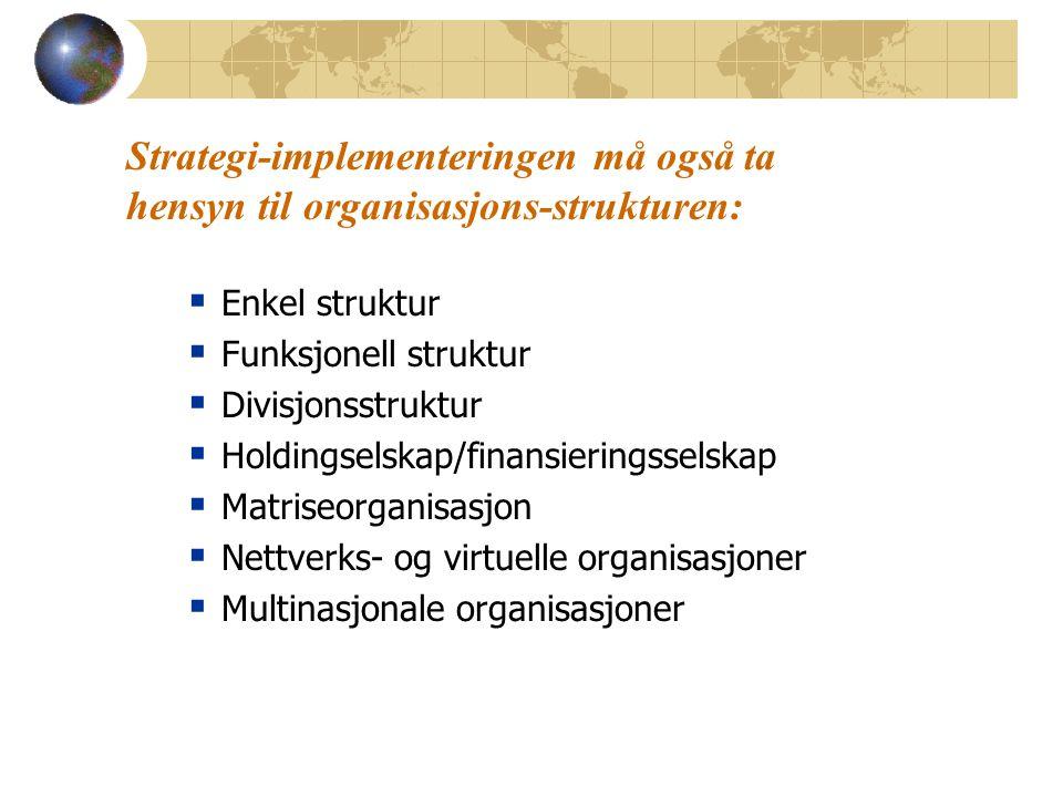 04.04.2017 Strategi-implementeringen må også ta hensyn til organisasjons-strukturen: Enkel struktur.