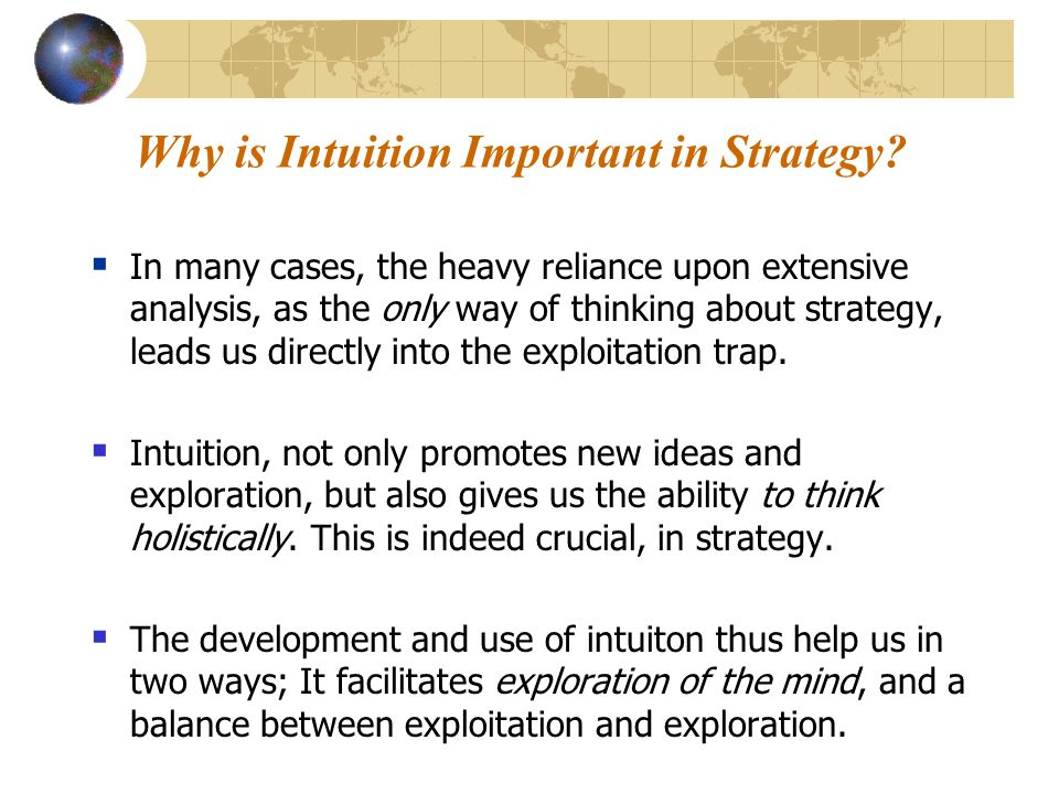Why is Intuition Important in Strategy