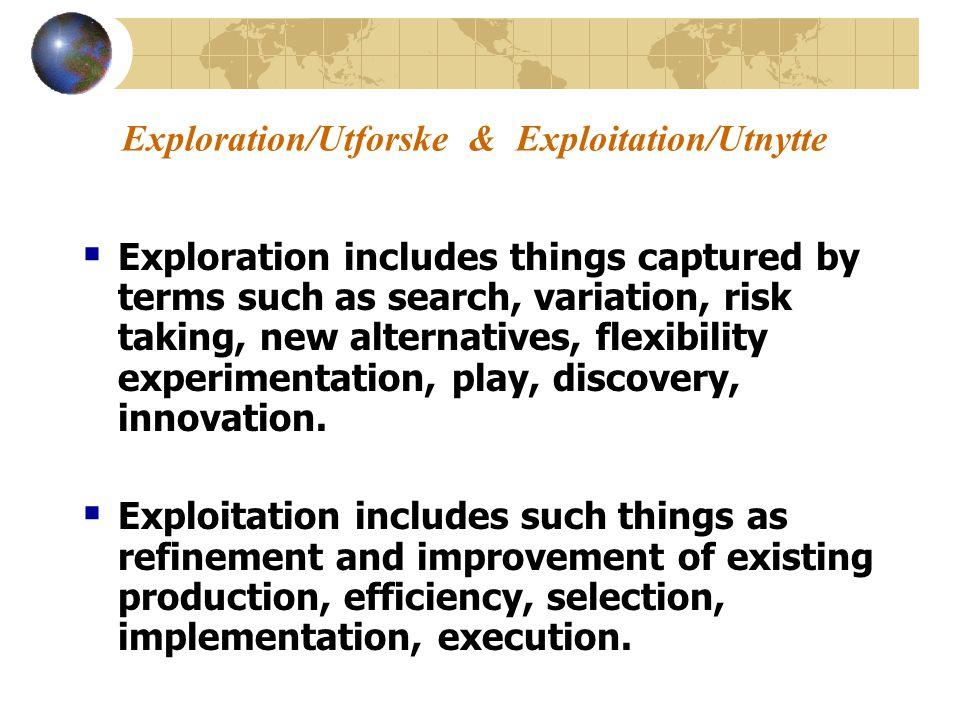 Exploration/Utforske & Exploitation/Utnytte