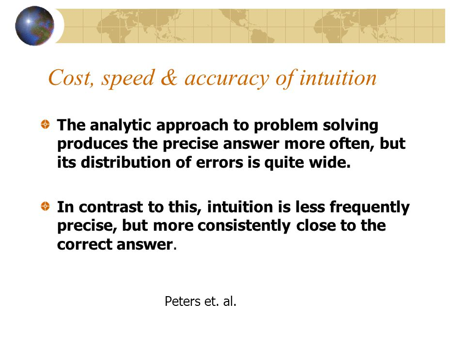 Cost, speed & accuracy of intuition