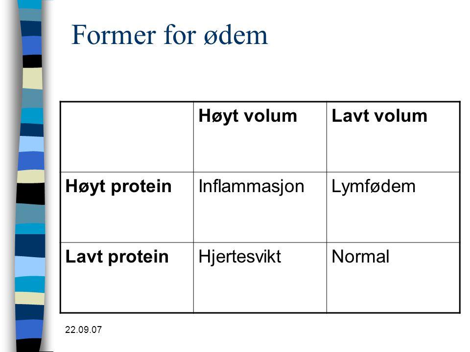 Former for ødem Høyt volum Lavt volum Høyt protein Inflammasjon