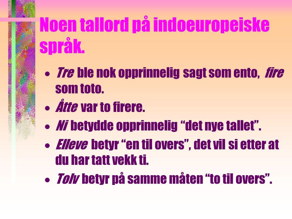 Noen tallord på indoeuropeiske språk.