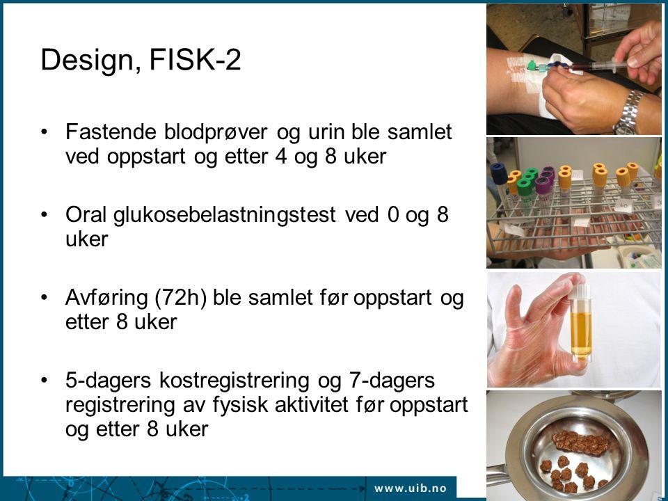 Design, FISK-2 Fastende blodprøver og urin ble samlet ved oppstart og etter 4 og 8 uker. Oral glukosebelastningstest ved 0 og 8 uker.