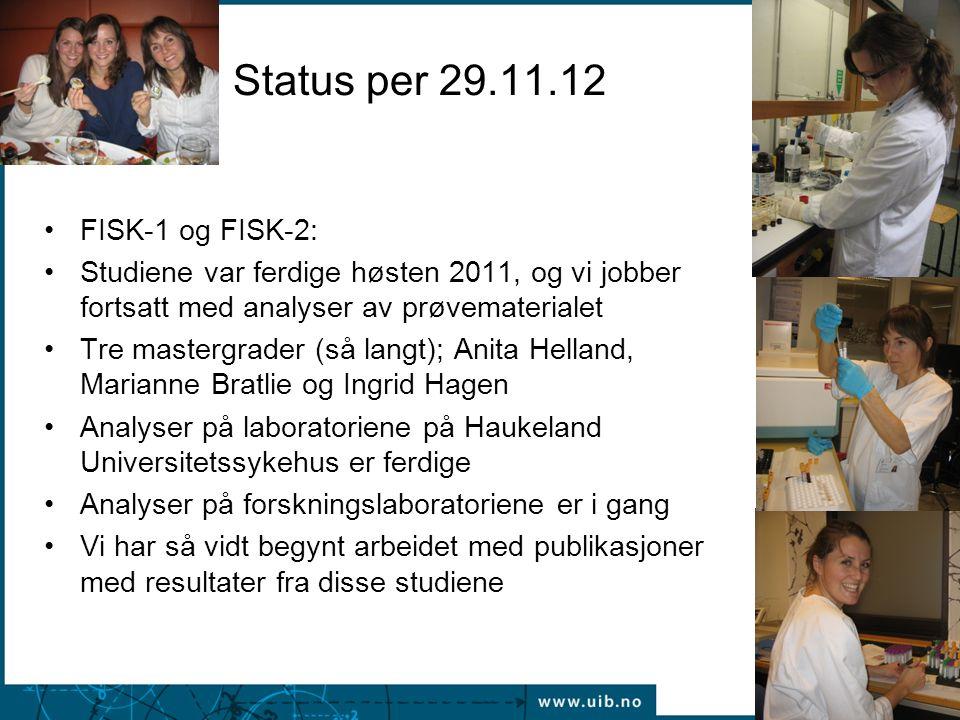 Status per 29.11.12 FISK-1 og FISK-2: