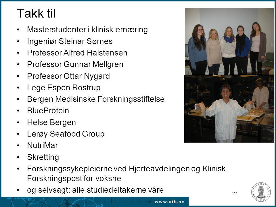 Takk til Masterstudenter i klinisk ernæring Ingeniør Steinar Sørnes
