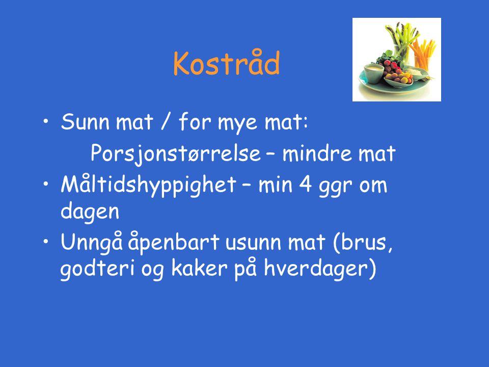 Kostråd Sunn mat / for mye mat: Porsjonstørrelse – mindre mat
