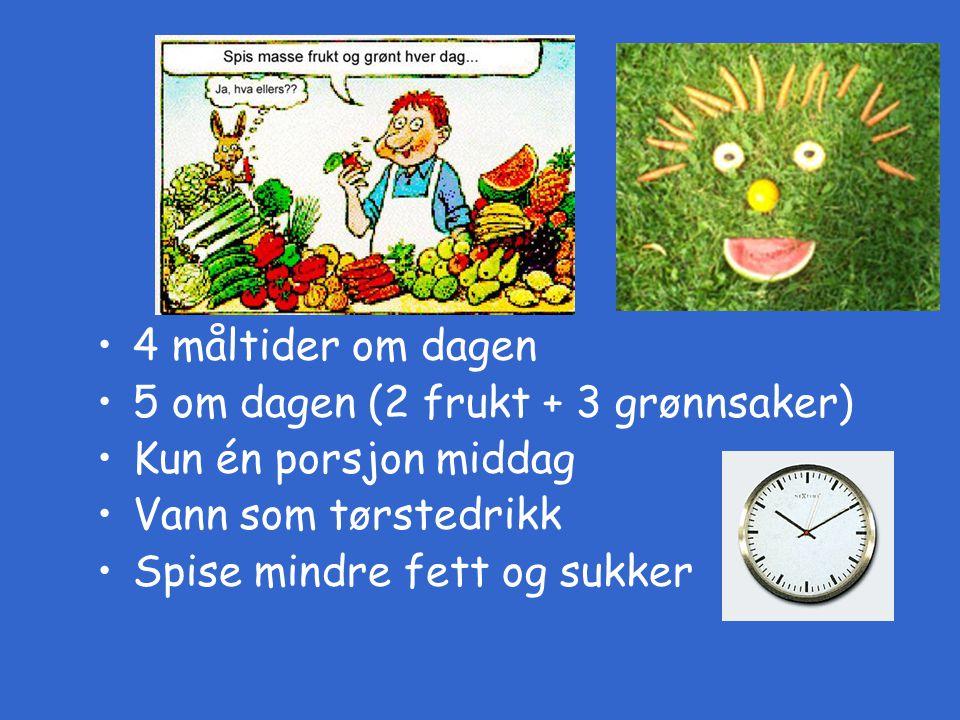 Basiskosten 4 måltider om dagen 5 om dagen (2 frukt + 3 grønnsaker)