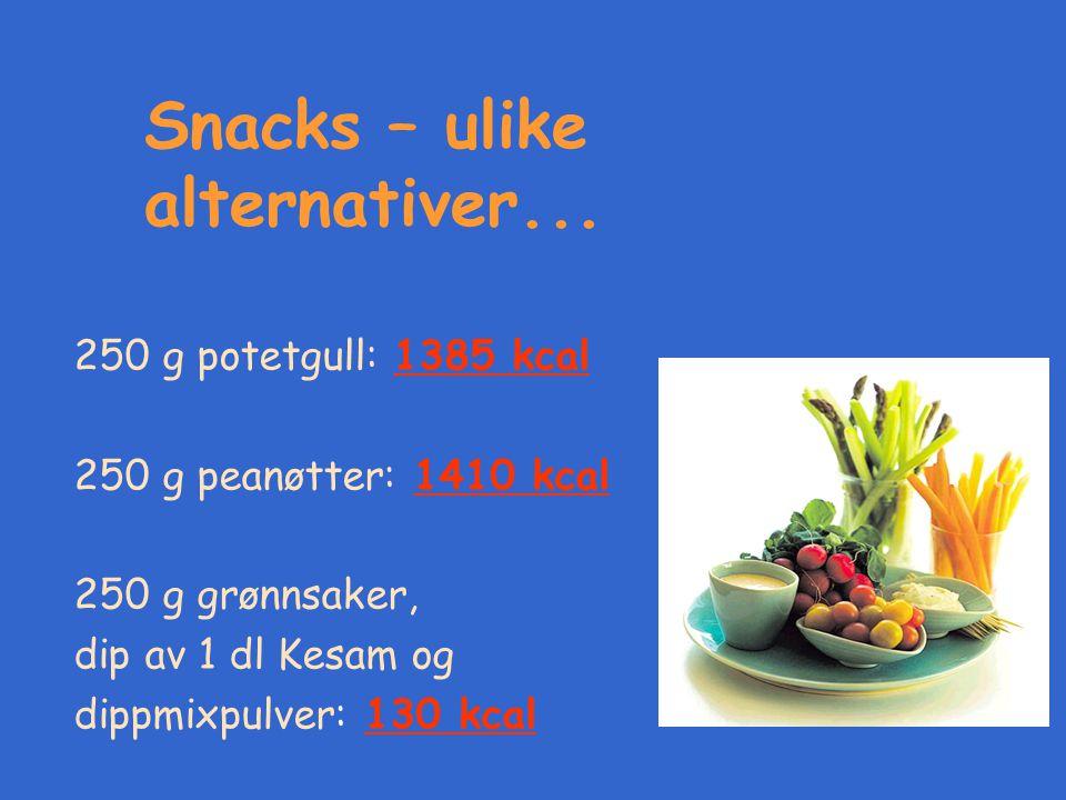Snacks – ulike alternativer...