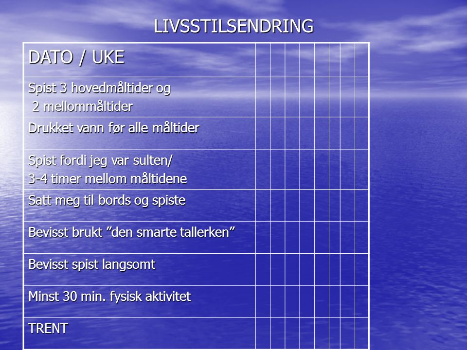 LIVSSTILSENDRING DATO / UKE Spist 3 hovedmåltider og 2 mellommåltider