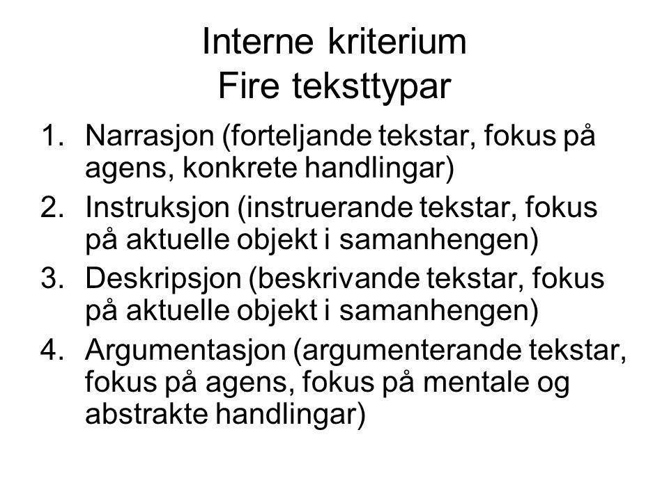 Interne kriterium Fire teksttypar