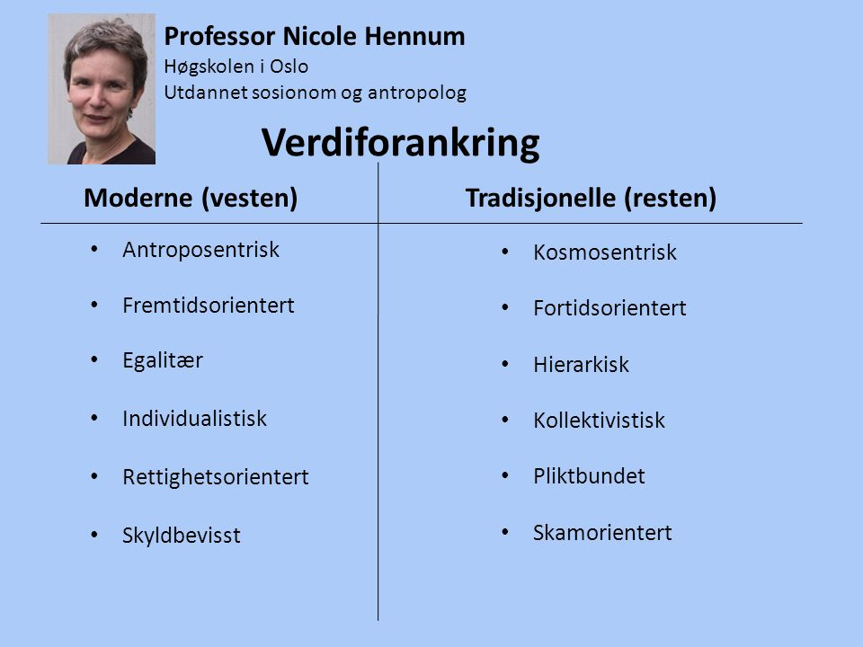 Verdiforankring Professor Nicole Hennum Antroposentrisk Kosmosentrisk