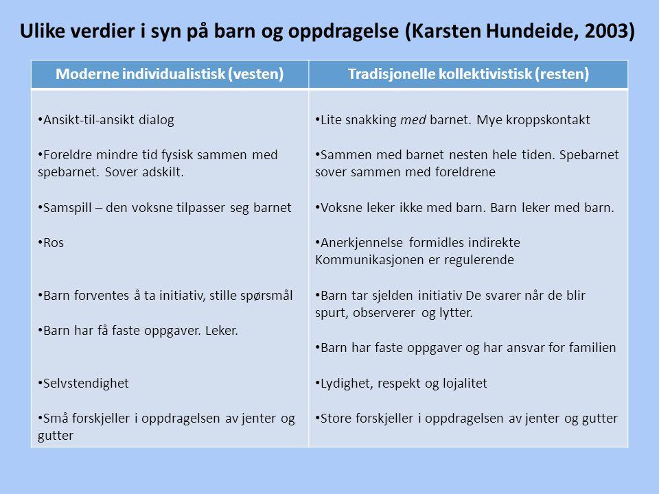 Ulike verdier i syn på barn og oppdragelse (Karsten Hundeide, 2003)
