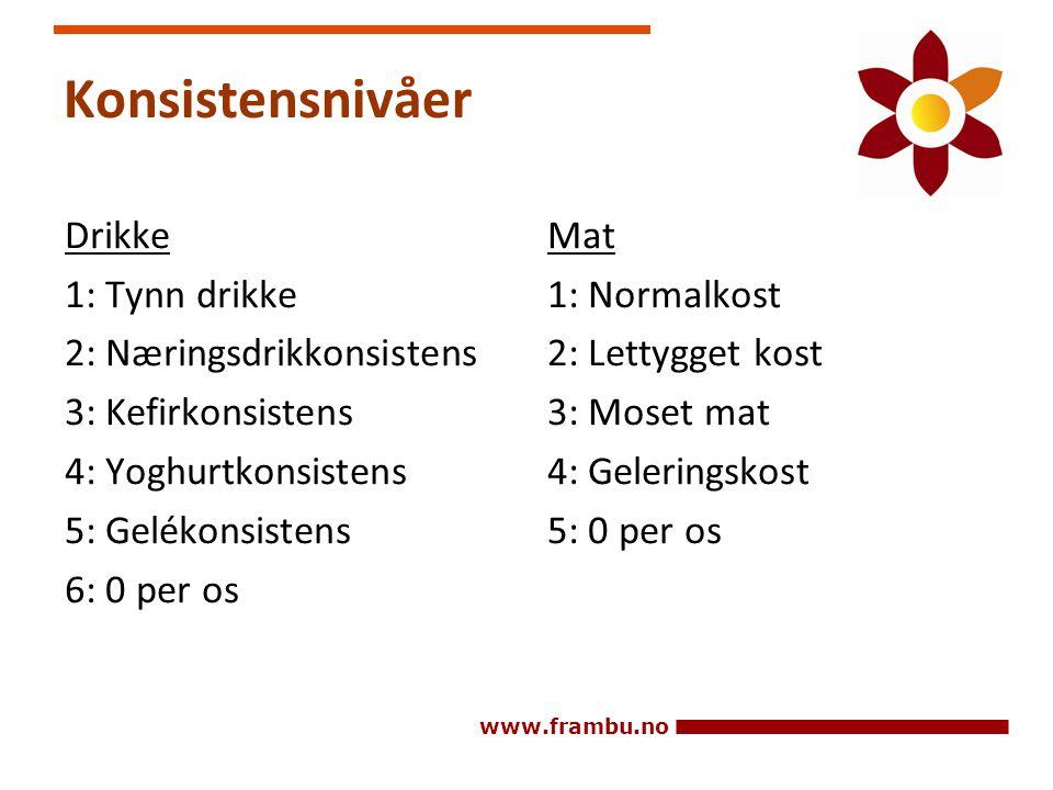 Konsistensnivåer Drikke 1: Tynn drikke 2: Næringsdrikkonsistens