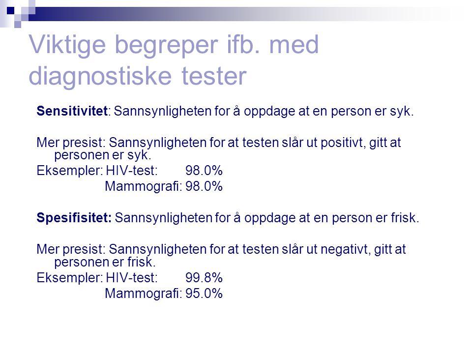 Viktige begreper ifb. med diagnostiske tester