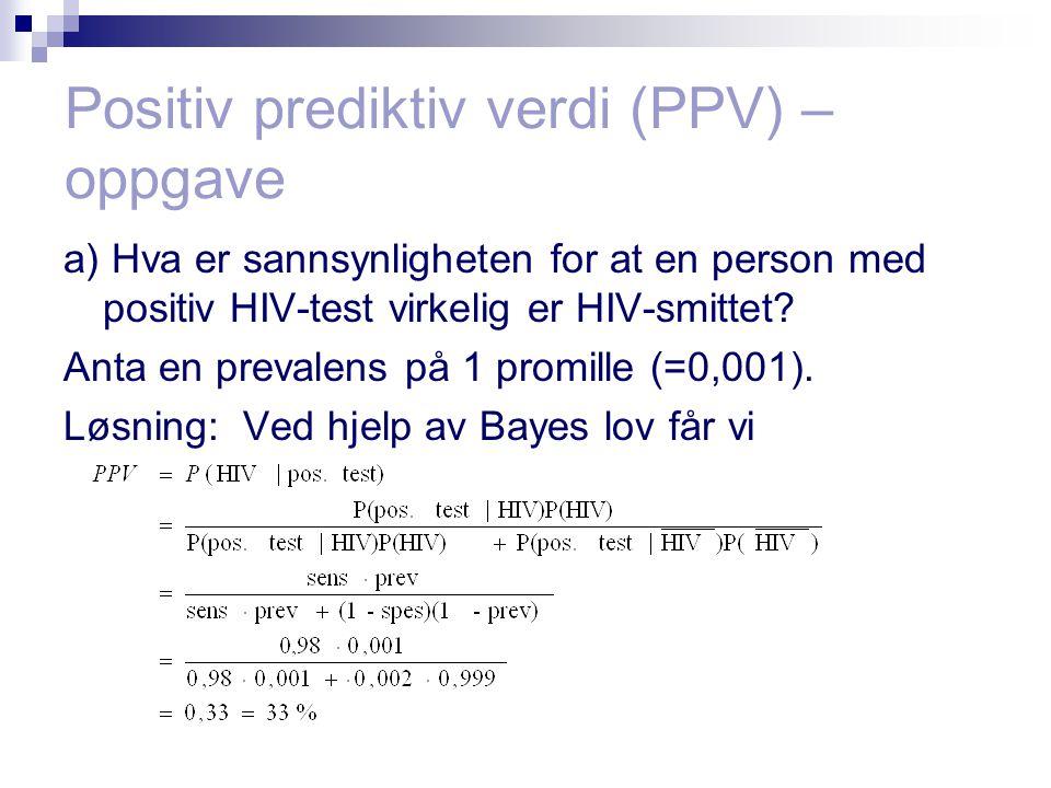 Positiv prediktiv verdi (PPV) – oppgave