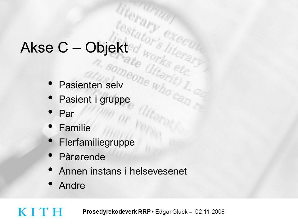 Akse C – Objekt Pasienten selv. Pasient i gruppe. Par. Familie. Flerfamiliegruppe. Pårørende. Annen instans i helsevesenet.