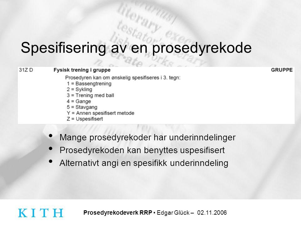Spesifisering av en prosedyrekode