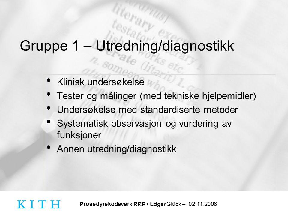 Gruppe 1 – Utredning/diagnostikk