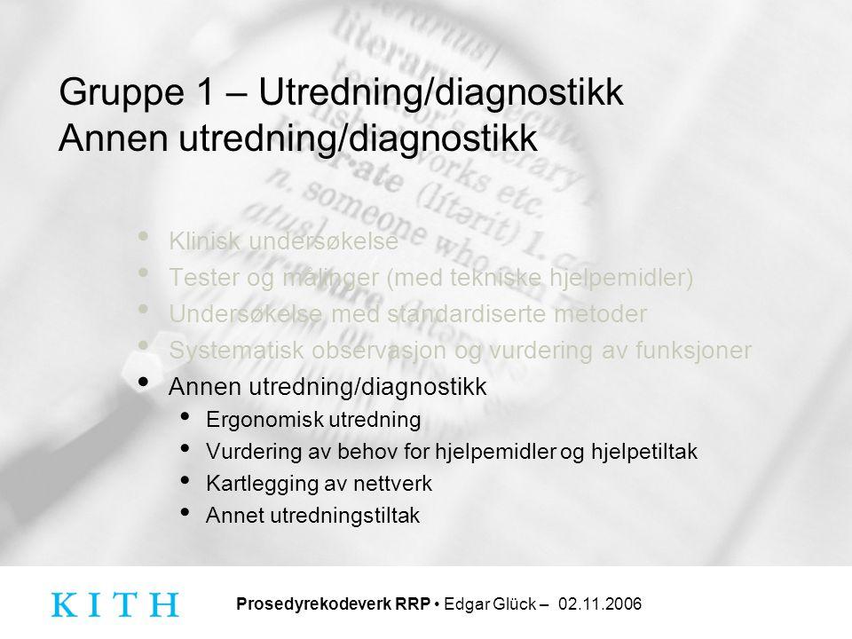 Gruppe 1 – Utredning/diagnostikk Annen utredning/diagnostikk