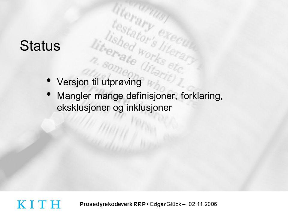Status Versjon til utprøving Mangler mange definisjoner, forklaring, eksklusjoner og inklusjoner