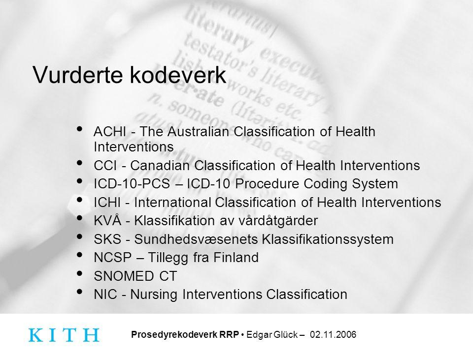 Vurderte kodeverk ACHI - The Australian Classification of Health Interventions. CCI - Canadian Classification of Health Interventions.