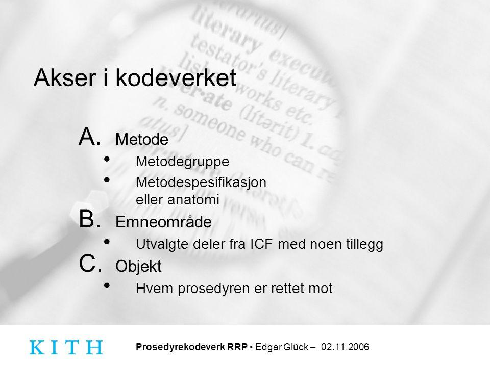 Akser i kodeverket Metode Emneområde Objekt Metodegruppe