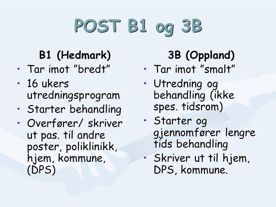 POST B1 og 3B B1 (Hedmark) Tar imot bredt 16 ukers utredningsprogram