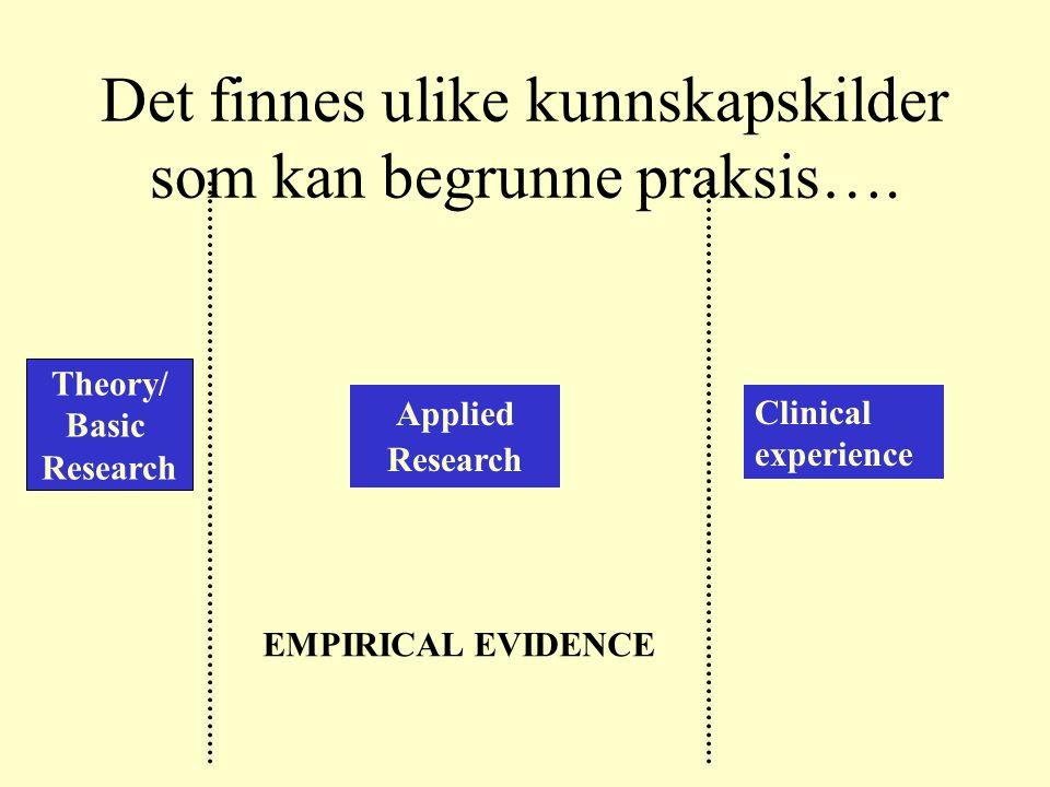 Det finnes ulike kunnskapskilder som kan begrunne praksis….