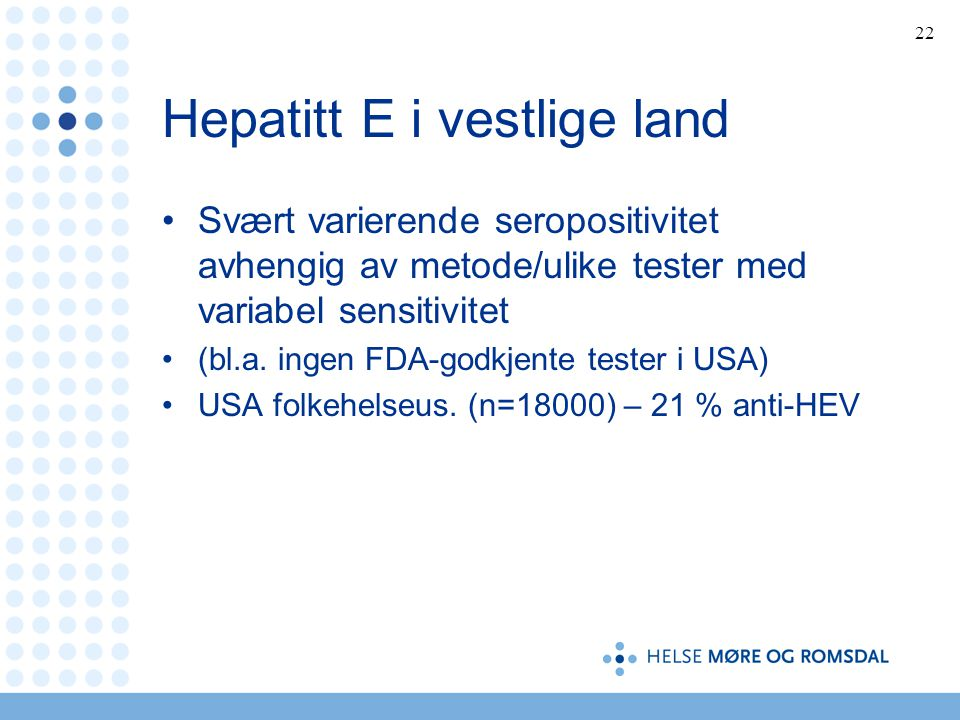 Hepatitt E i vestlige land