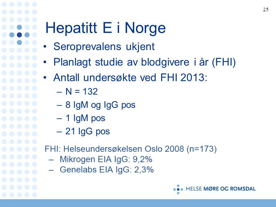Hepatitt E i Norge Seroprevalens ukjent