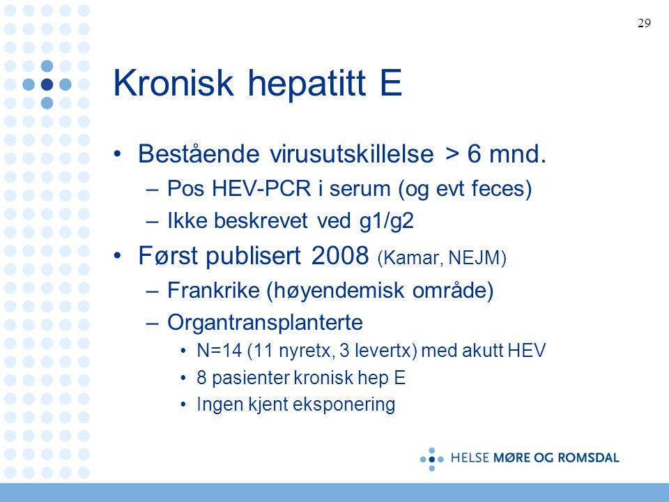 Kronisk hepatitt E Bestående virusutskillelse > 6 mnd.