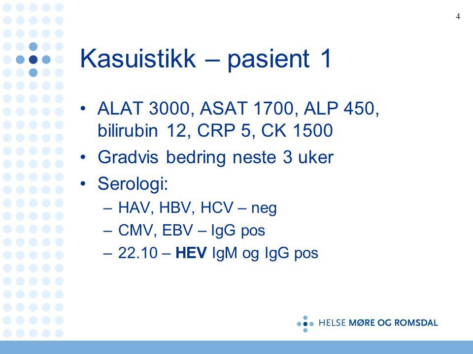 Kasuistikk – pasient 1 ALAT 3000, ASAT 1700, ALP 450, bilirubin 12, CRP 5, CK 1500. Gradvis bedring neste 3 uker.