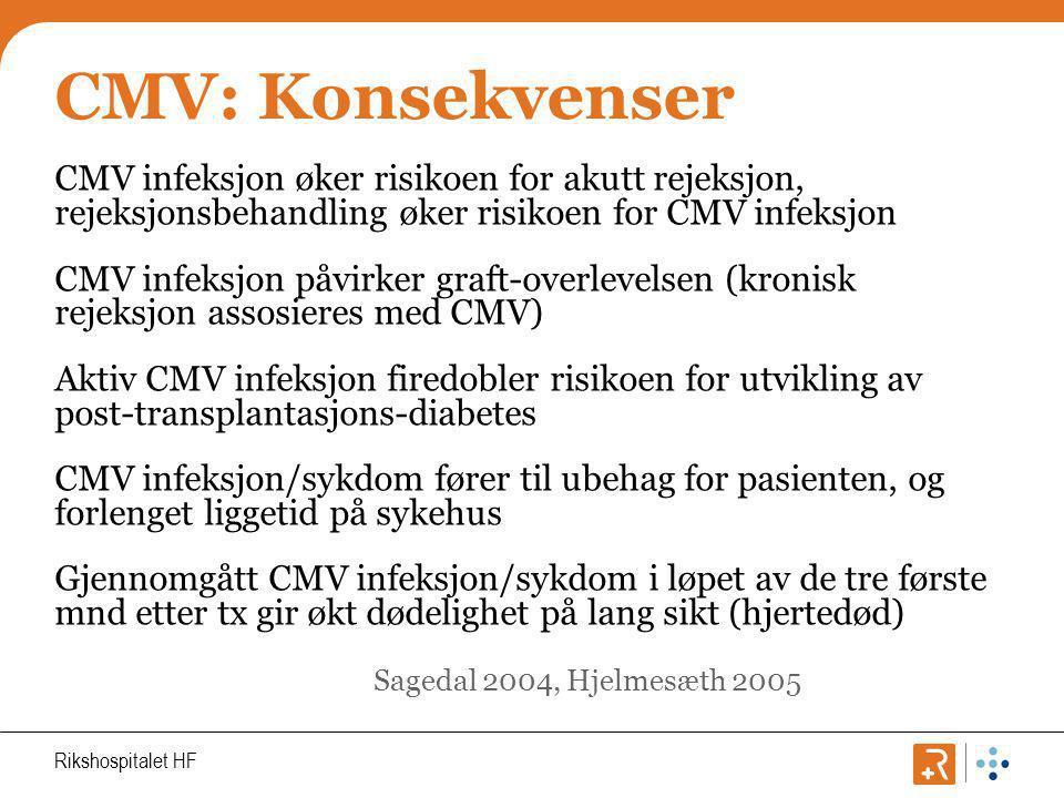 CMV: Konsekvenser CMV infeksjon øker risikoen for akutt rejeksjon, rejeksjonsbehandling øker risikoen for CMV infeksjon.